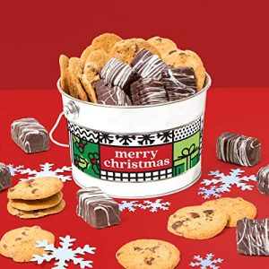 David's Cookies Gourmet Cookies & Brownies Treat Box – Freshly Baked Goods In Signature Gift Basket – Includes Chocolate Chip Cookies, Brownie Bites & Dark Chocolate Brownies by Delicious Gift Idea