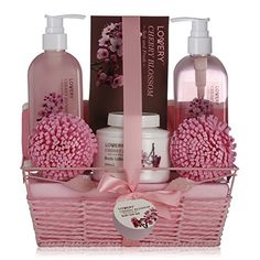 Delicate Spa Gift Basket with Japanese Exotic Cherry Fragrance for Women – Luxurious Skin Care Set containing Bubble Bath, Lotions, Creams, and Others Idea Gift For Wife, Girlfriend, Mom by Draizee