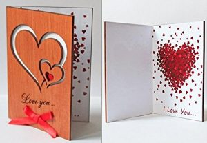 Handmade Real Wood Unique Love You Hearts For Wooden Anniversary Greeting Card Novelty, Valentine's Day, Wedding, Unique Happy Birthday Gift for Boyfriend, Husband, Dad, Wife, Mom, Girlfriend by LapaTOON