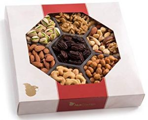 Holiday Nuts Gift Basket. 4-Section Elegant Assortment Mixed Nuts, Christmas Food Box Gift. For Birthday, Mothers, Father's Day, Thanksgiving and Corporate Tray by Nut Cravings
