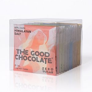 The Good Chocolate, 3 Set 6-pack Gift Variety, Low Net Carb, Zero sugar, 65% Dark, Ginger, Mint, Almond, Salt & 54% Milk Chocolate (3 X 6-pack of 0.4oz Squares) by the good chocolate